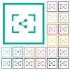 Camera share image flat color icons with quadrant frames - Camera share image flat color icons with quadrant frames on white background