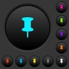 Push pin dark push buttons with vivid color icons on dark grey background - Push pin dark push buttons with color icons
