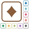Diamond card symbol simple icons - Diamond card symbol simple icons in color rounded square frames on white background