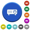 Video projector beveled buttons - Video projector round color beveled buttons with smooth surfaces and flat white icons