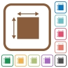 Elemet dimensions simple icons in color rounded square frames on white background - Elemet dimensions simple icons