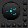 Network file system dark push buttons with color icons - Network file system dark push buttons with vivid color icons on dark grey background