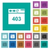 Browser 403 forbidden square flat multi colored icons - Browser 403 forbidden multi colored flat icons on plain square backgrounds. Included white and darker icon variations for hover or active effects.