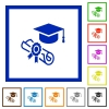 Graduation ceremony flat framed icons - Graduation ceremony flat color icons in square frames on white background