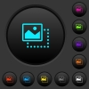 Drag image to top left dark push buttons with color icons - Drag image to top left dark push buttons with vivid color icons on dark grey background
