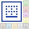 Bottom border flat framed icons - Bottom border flat color icons in square frames on white background