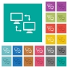 Data syncronization square flat multi colored icons - Data syncronization multi colored flat icons on plain square backgrounds. Included white and darker icon variations for hover or active effects.