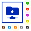 FTP bug flat framed icons - FTP bug flat color icons in square frames on white background