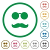 Glasses and mustache flat icons with outlines - Glasses and mustache flat color icons in round outlines on white background