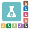 Dangerous chemical experiment rounded square flat icons - Dangerous chemical experiment white flat icons on color rounded square backgrounds