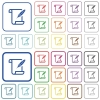 Paper scroll with feather outlined flat color icons - Paper scroll with feather color flat icons in rounded square frames. Thin and thick versions included.
