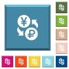 Yen Ruble money exchange white icons on edged square buttons - Yen Ruble money exchange white icons on edged square buttons in various trendy colors