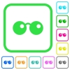 Sunglasses vivid colored flat icons in curved borders on white background - Sunglasses vivid colored flat icons