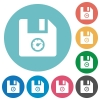 File size flat round icons - File size flat white icons on round color backgrounds