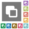 Subtract shapes square flat icons - Subtract shapes flat icons on simple color square backgrounds