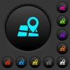 Location pin on map dark push buttons with color icons - Location pin on map dark push buttons with vivid color icons on dark grey background