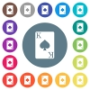 King of spades card flat white icons on round color backgrounds - King of spades card flat white icons on round color backgrounds. 17 background color variations are included.