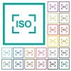 Camera iso speed setting flat color icons with quadrant frames - Camera iso speed setting flat color icons with quadrant frames on white background