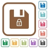 Lock file simple icons - Lock file simple icons in color rounded square frames on white background