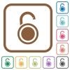 Unlocked round padlock simple icons - Unlocked round padlock simple icons in color rounded square frames on white background