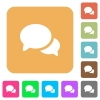 Discussion flat icons on rounded square vivid color backgrounds. - Discussion rounded square flat icons
