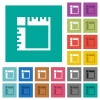Canvas rulers square flat multi colored icons - Canvas rulers multi colored flat icons on plain square backgrounds. Included white and darker icon variations for hover or active effects.