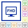 Full HD display flat color icons in square frames on white background - Full HD display flat framed icons