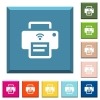 Wireless printer white icons on edged square buttons - Wireless printer white icons on edged square buttons in various trendy colors