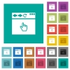 Browser pointer cursor square flat multi colored icons - Browser pointer cursor multi colored flat icons on plain square backgrounds. Included white and darker icon variations for hover or active effects.