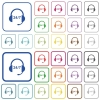 24 hour call center outlined flat color icons - 24 hour call center color flat icons in rounded square frames. Thin and thick versions included.