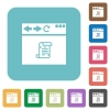 Browser running script rounded square flat icons - Browser running script white flat icons on color rounded square backgrounds