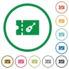 Instrument shop discount coupon flat icons with outlines - Instrument shop discount coupon flat color icons in round outlines on white background