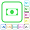 Single banknote vivid colored flat icons in curved borders on white background - Single banknote vivid colored flat icons