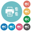 Printer and ink cartridges flat round icons - Printer and ink cartridges flat white icons on round color backgrounds