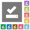 Successfully saved square flat icons - Successfully saved flat icons on simple color square backgrounds