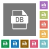DB file format flat icons on simple color square backgrounds - DB file format square flat icons