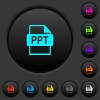 PPT file format dark push buttons with color icons - PPT file format dark push buttons with vivid color icons on dark grey background