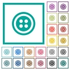 Dress button with 4 holes flat color icons with quadrant frames - Dress button with 4 holes flat color icons with quadrant frames on white background