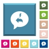 Quick reply message white icons on edged square buttons - Quick reply message white icons on edged square buttons in various trendy colors