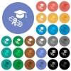 Graduation ceremony round flat multi colored icons - Graduation ceremony multi colored flat icons on round backgrounds. Included white, light and dark icon variations for hover and active status effects, and bonus shades.