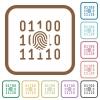 Digital fingerprint simple icons - Digital fingerprint simple icons in color rounded square frames on white background