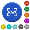 Camera raw image mode beveled buttons - Camera raw image mode round color beveled buttons with smooth surfaces and flat white icons