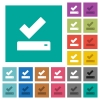 Successfully saved square flat multi colored icons - Successfully saved multi colored flat icons on plain square backgrounds. Included white and darker icon variations for hover or active effects.