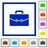 Satchel with two buckles flat framed icons - Satchel with two buckles flat color icons in square frames on white background
