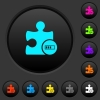 Plugin processing dark push buttons with vivid color icons on dark grey background - Plugin processing dark push buttons with color icons