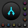 Split arrows down dark push buttons with vivid color icons on dark grey background - Split arrows down dark push buttons with color icons