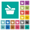 Shopping basket square flat multi colored icons - Shopping basket multi colored flat icons on plain square backgrounds. Included white and darker icon variations for hover or active effects.