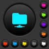Network folder dark push buttons with vivid color icons on dark grey background - Network folder dark push buttons with color icons