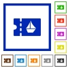 cruise discount coupon flat framed icons - cruise discount coupon flat color icons in square frames on white background