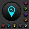 Disability accessibility GPS map location dark push buttons with color icons - Disability accessibility GPS map location dark push buttons with vivid color icons on dark grey background